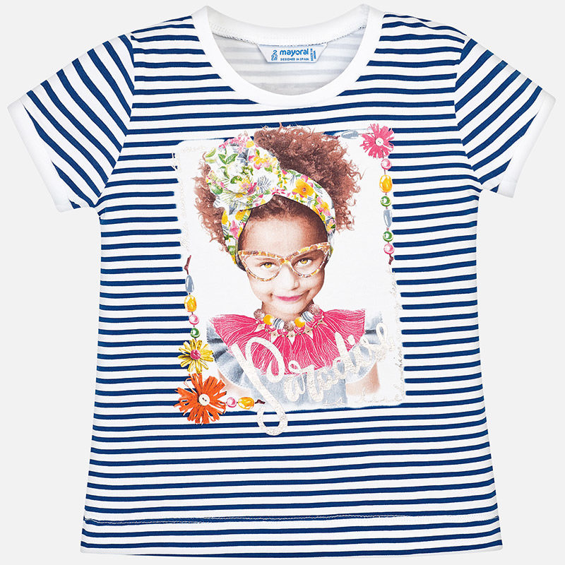 cccb51ff5d6 Μπλούζα ριγέ κοντομάνικη κορίτσι-Mayoral